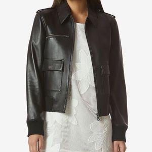 Avec Les Filles leather black bomber jacket size S